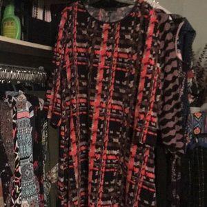 Tiana B. Swing Dress in Brown, Orange & Black 20W